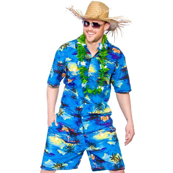 Pantalon-corto-para-hombre-Camisa-Hawaiana-Stag-Retro-Playa-Luau-Tropical-Fancy-Dress-Costume