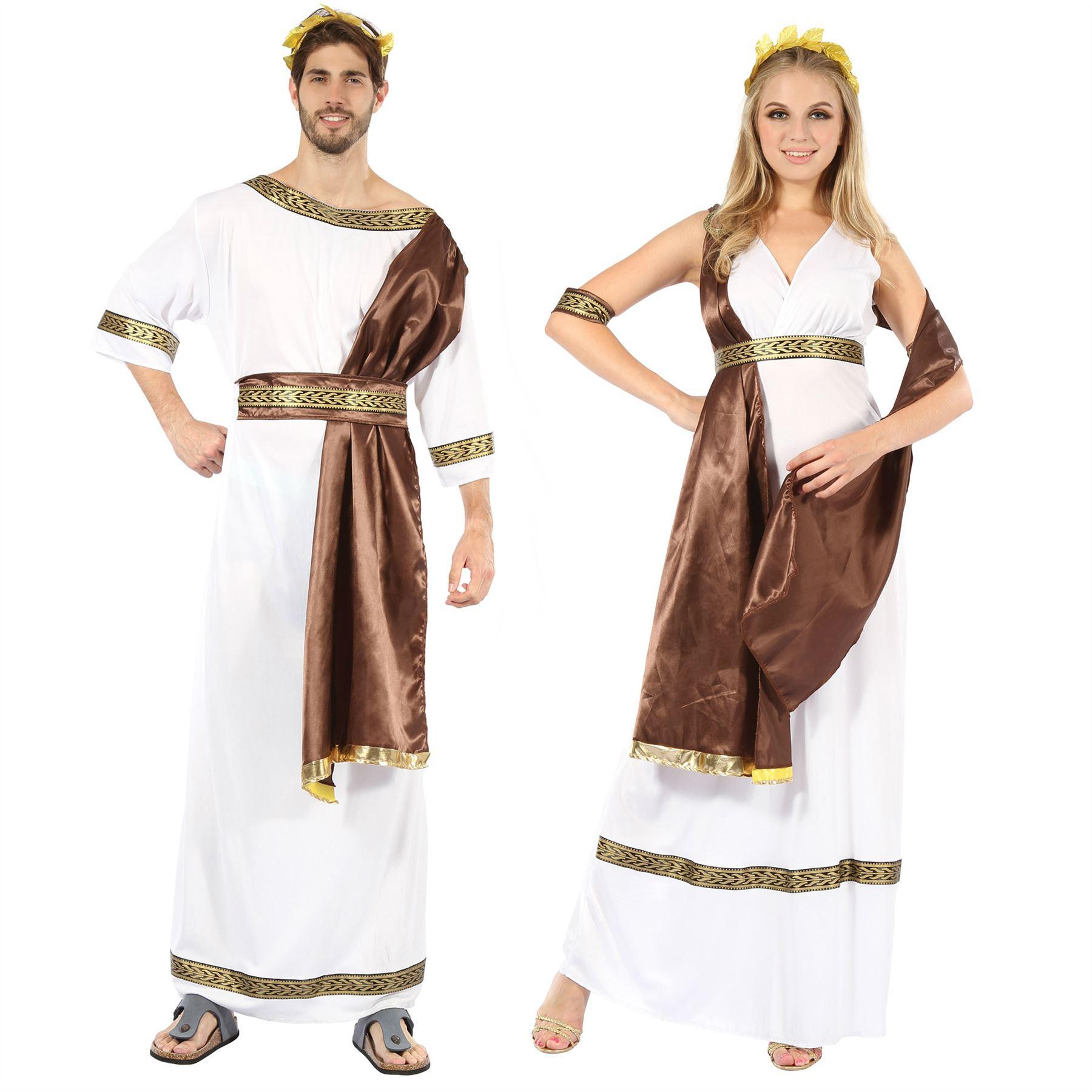 Adults-Toga-Costume-Mens-Greek-Roman-Fancy-Dress-  sc 1 st  eBay & Adults Toga Costume Mens Greek Roman Fancy Dress Ladies Grecian ...