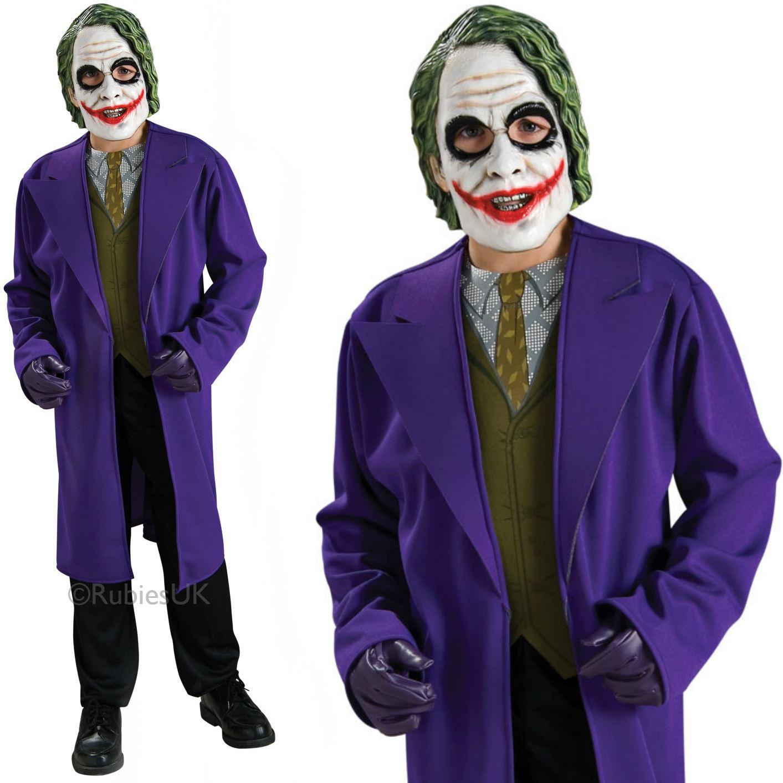 Detalles Acerca De Ninos Chicos Oficial Joker Fancy Dress Costume Heath Ledger Traje De Halloween Nuevo Mostrar Titulo Original