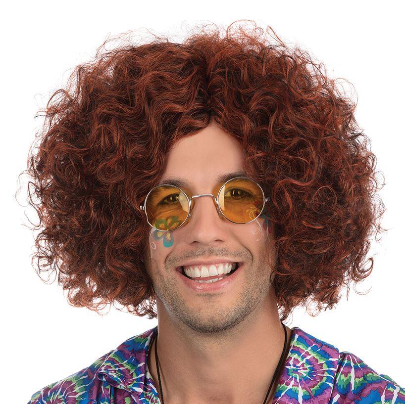 Adulti Da Uomo 60s 70s Nero Marrone Evidenzia Gesù Hippy Accessorio Costume Parrucca