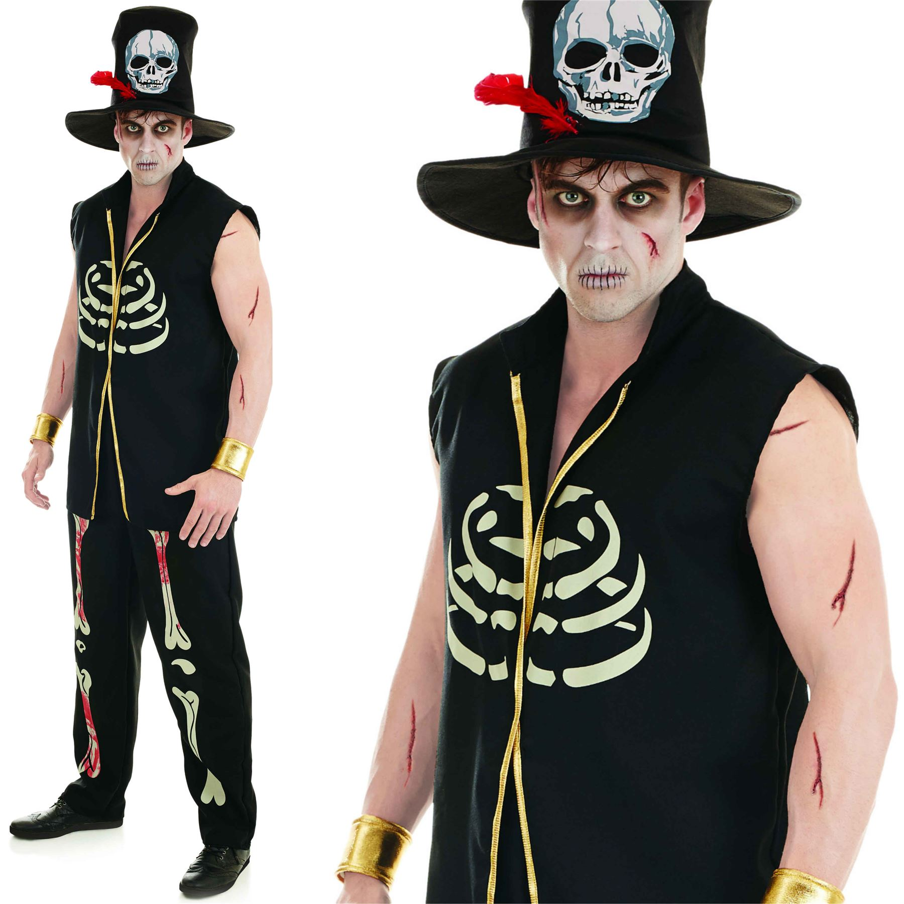 Adult Witch Doctor Costume Mens Skeleton Halloween Voodoo Man Fancy Dress Outfit