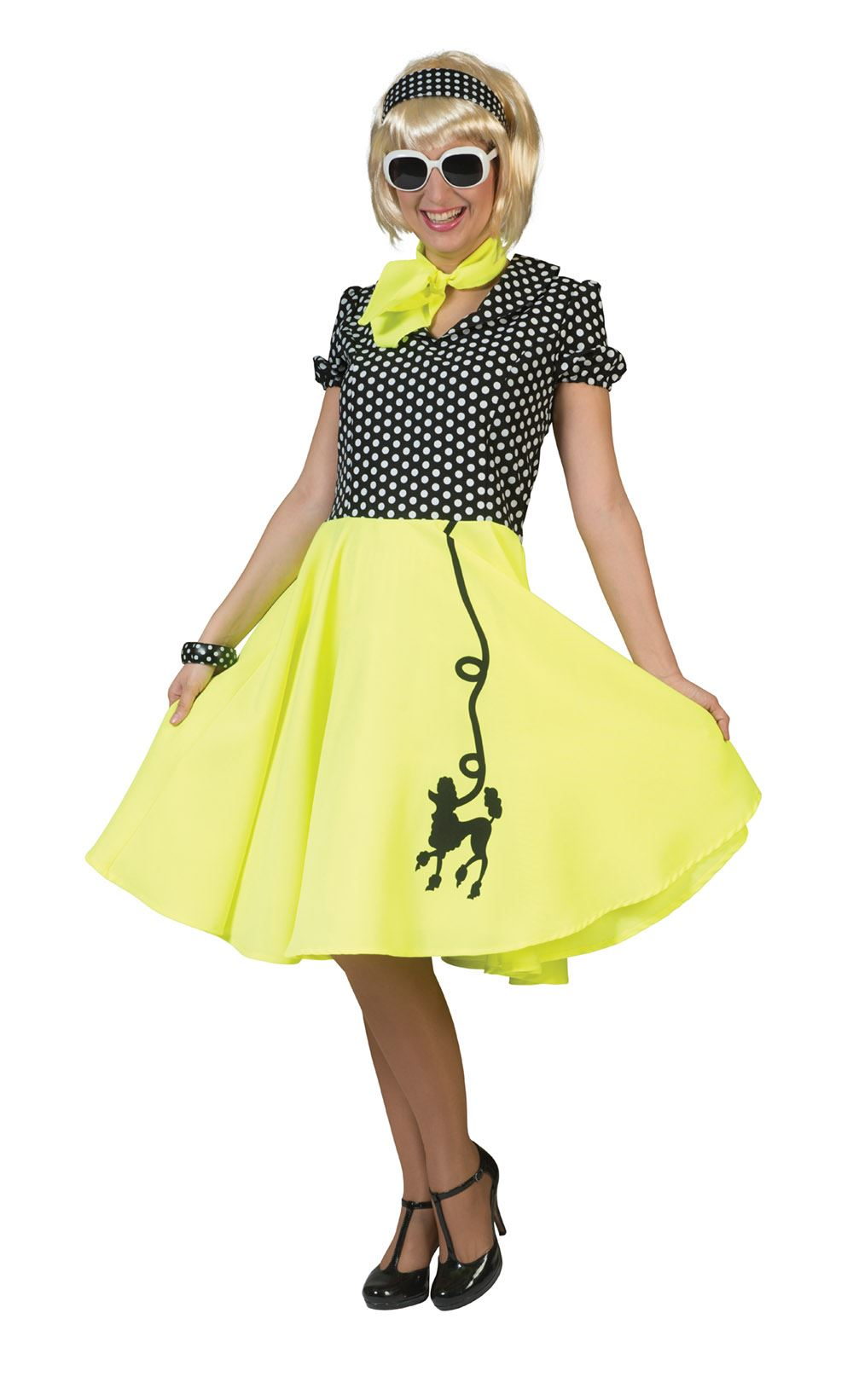 Adult Rock n Roll Skirt Scarf Fancy Dress 50s Grease Ladies Poodle Polka Dot New