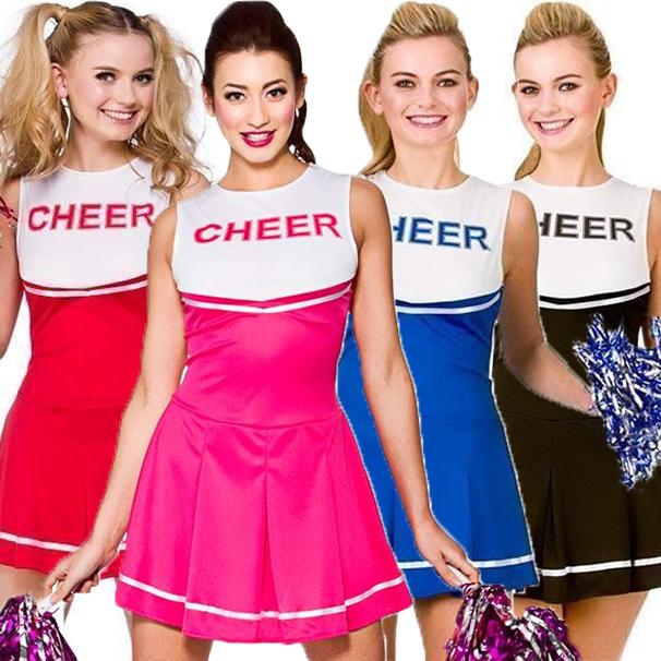 Adult HIGH SCHOOL CHEERLEADER Red Ladies Fancy Dress Costume UK Sizes 6-20
