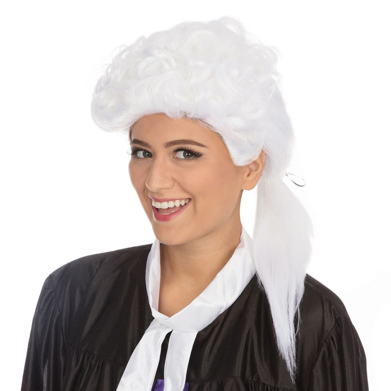 Judges Wig White with Curls Barrister Lawyer Fancy Dress Costume Accessory