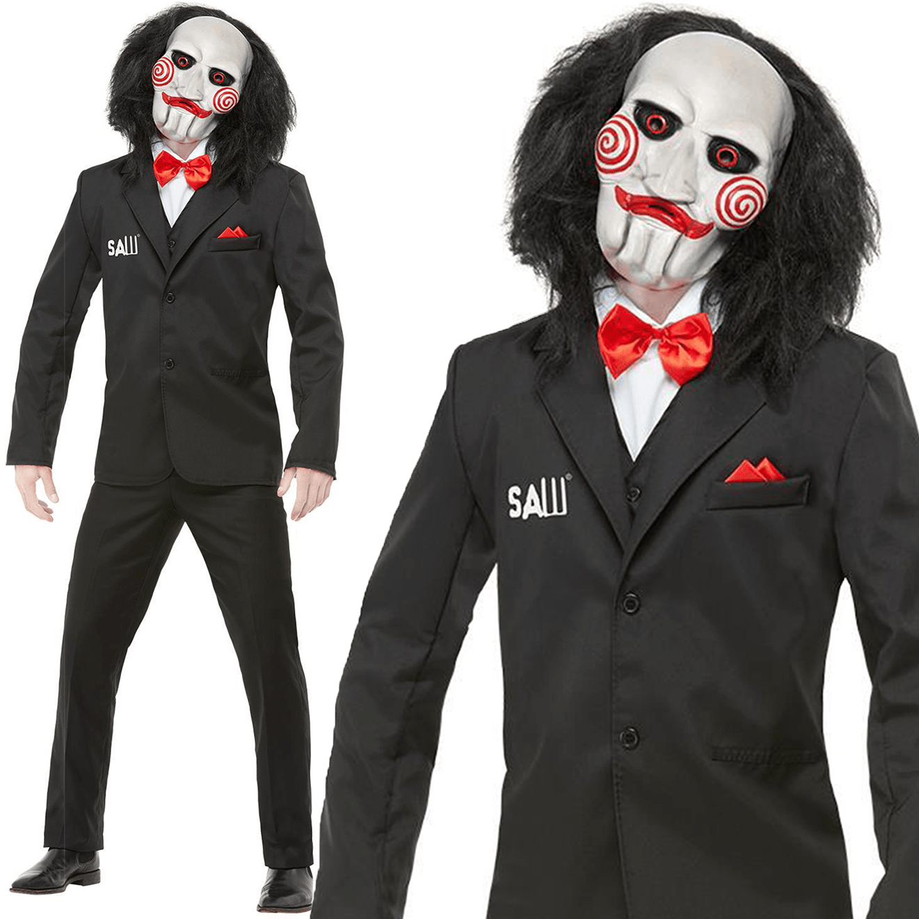 Mens Jigsaw Saw Puppet Costume Licensed Adult Halloween Fancy Dress Outfit