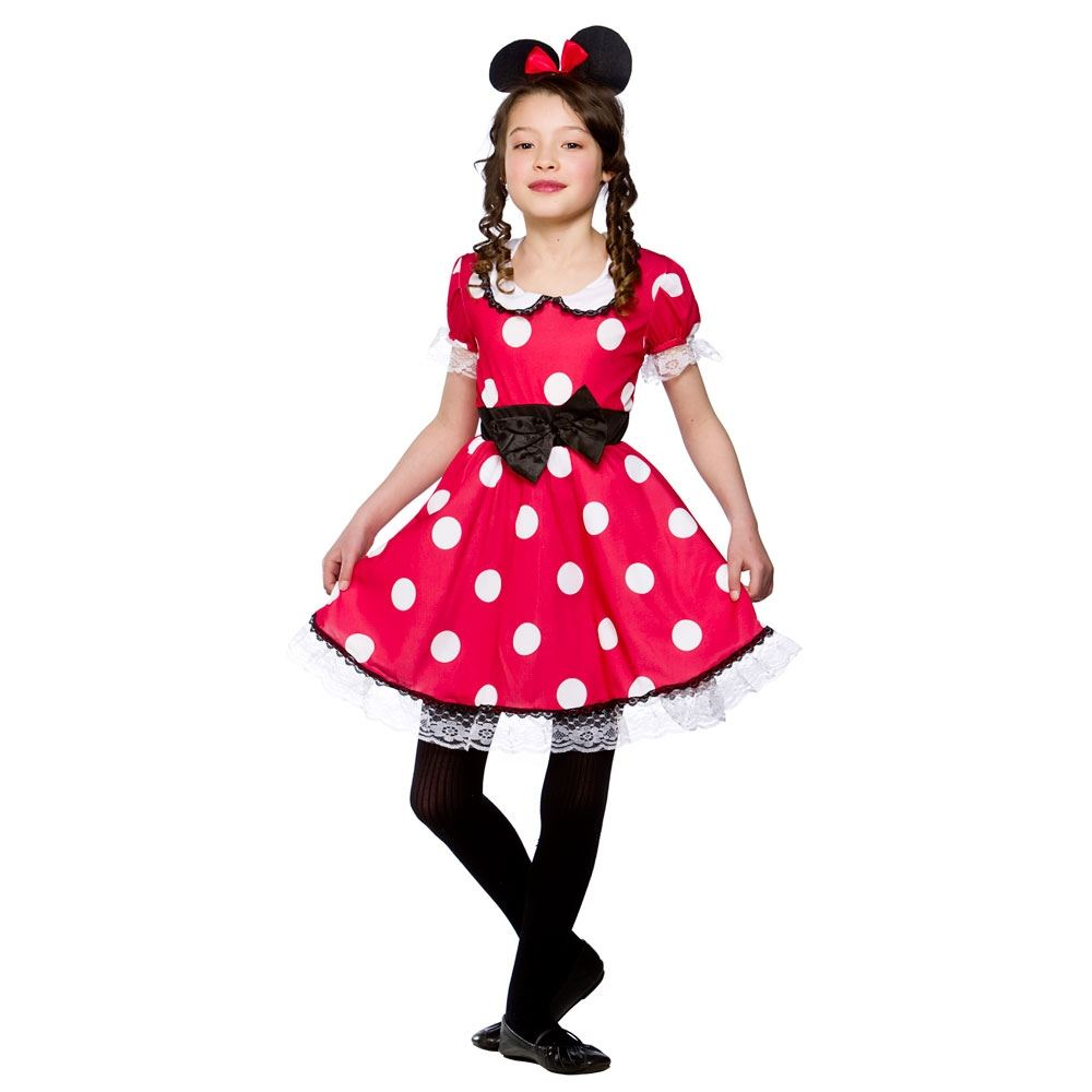 Girls Kid Cute Minnie Mouse Fancy Dress Costume Red White Polkadot ...