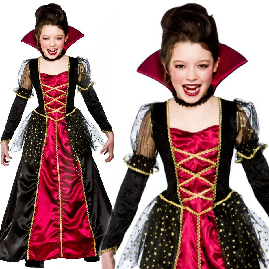Girls Vampire Princess Costume Vampiira Halloween Kids Fancy Dress Outfit