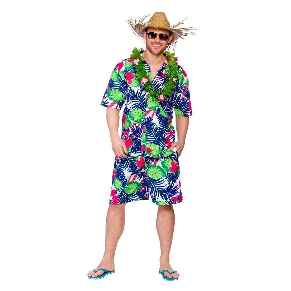 Mens Hawaiian Shirt Shorts Stag Retro Beach Luau Tropical Fancy Dress Costume | eBay