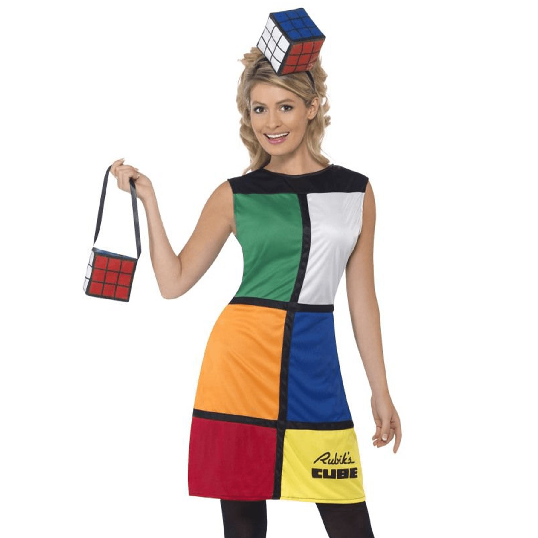 1980s Retro Rubiks Cube Puzzle Ladies Fancy Dress Costume Party Outfit Womens