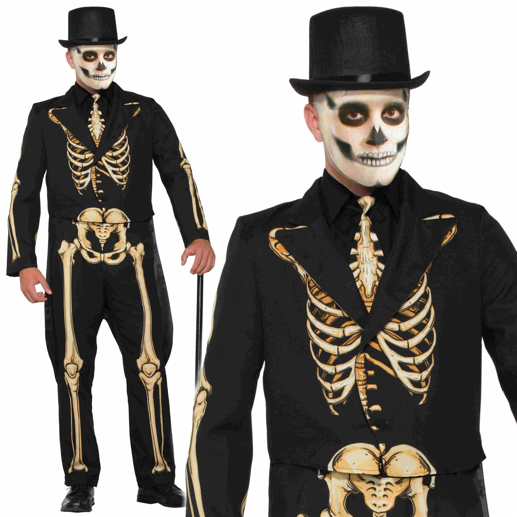 616ee2cc349d Details about Adult Mens Formal Skeleton Suit Costume Fancy Dress Halloween  Outfit New