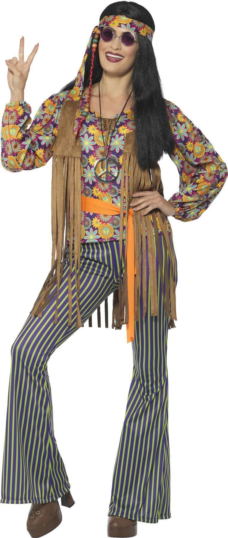 Adults-60s-70s-Hippie-Costume-Mens-Ladies-Hippy-  sc 1 st  eBay & Adults 60s 70s Hippie Costume Mens Ladies Hippy Fancy Dress Womens ...