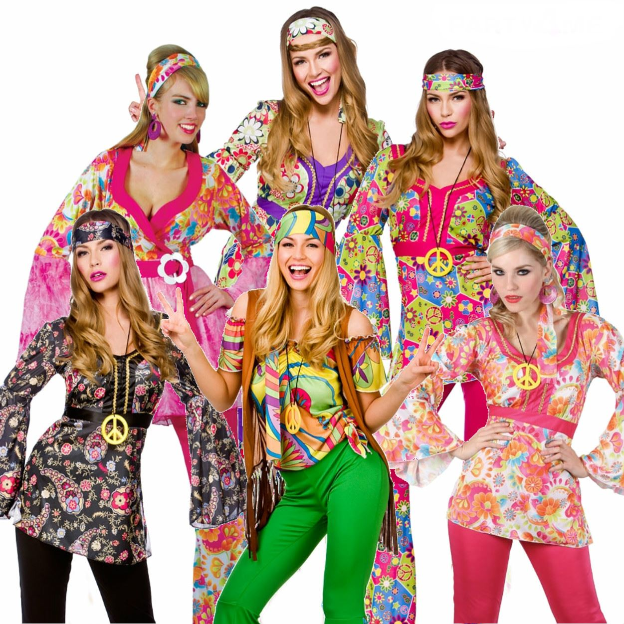 adult 60s 70s groovy lady hippy flower power womens ladies fancy dress costume ebay. Black Bedroom Furniture Sets. Home Design Ideas