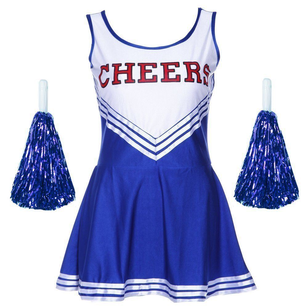 Cheerleader-Fancy-Dress-Outfit-Uniforme-High-School-Musical-Costume-avec-pompons