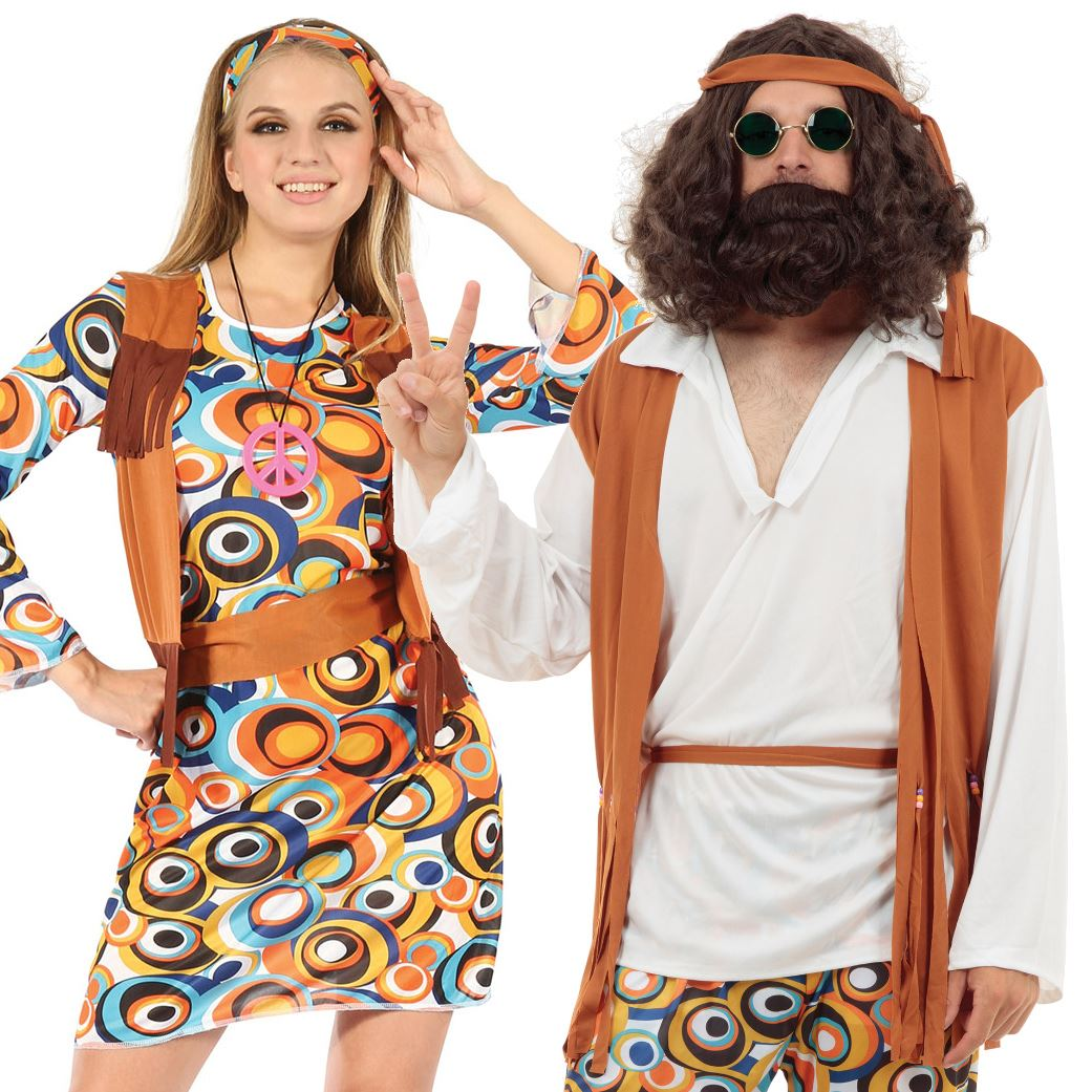 Adult Mens Ladies Couple Psychedelic 60s 70s Groovy Hippy Fancy Dress Costume