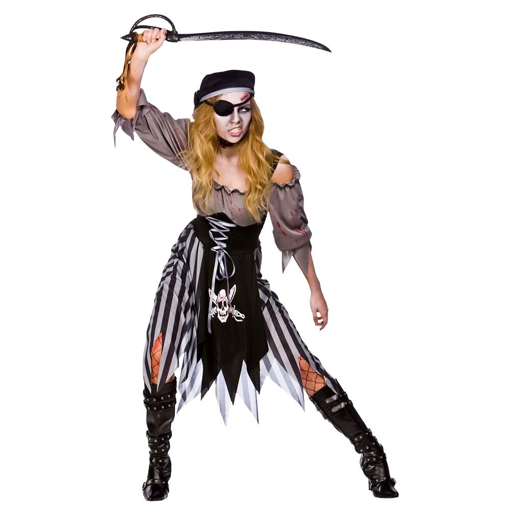 Adult Ladies Sexy Ghost Ship Zombie Pirate Costume Womens ...