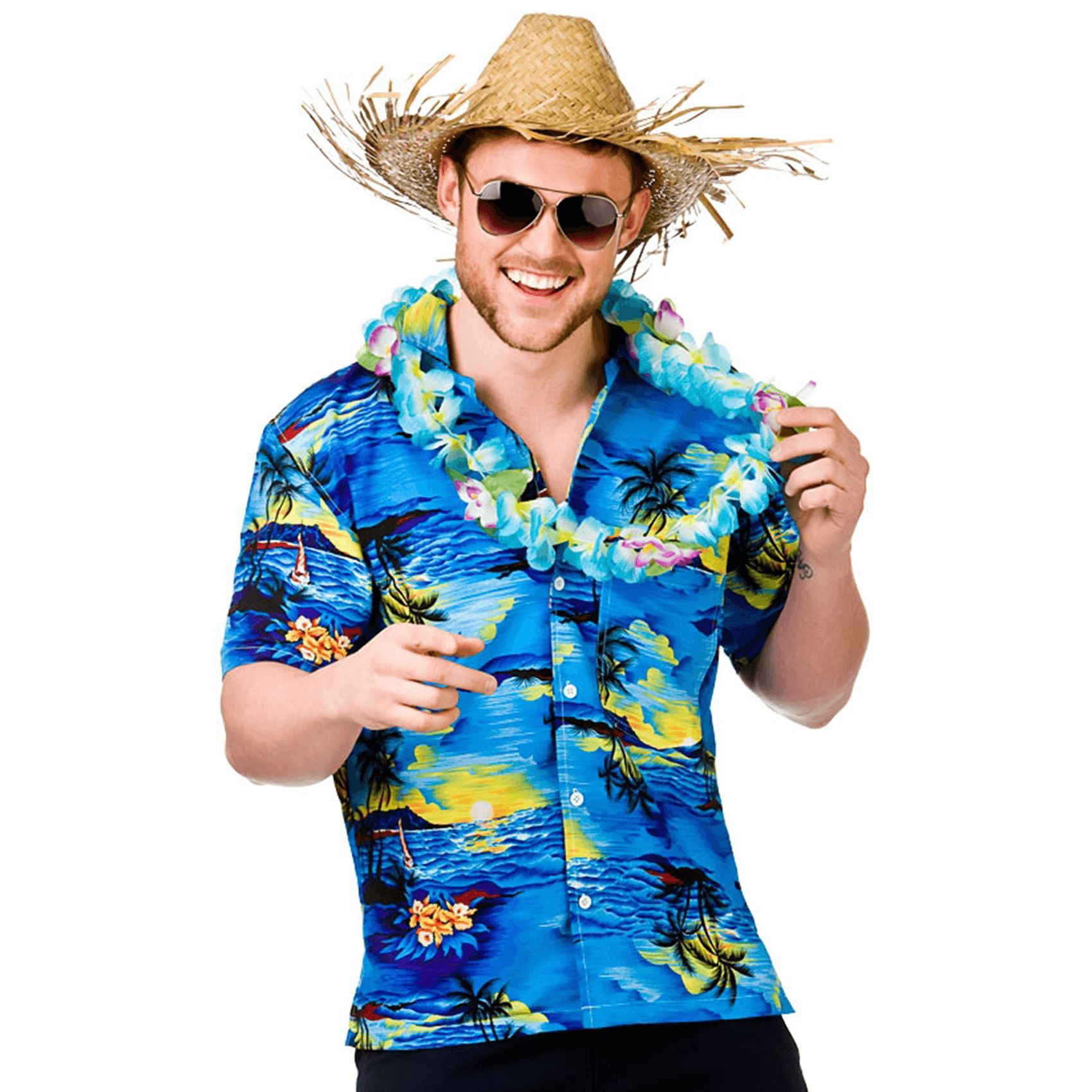 Mens Hawaiian Shirt Lei Stag Retro Beach Tropical Fancy Dress Costume Top