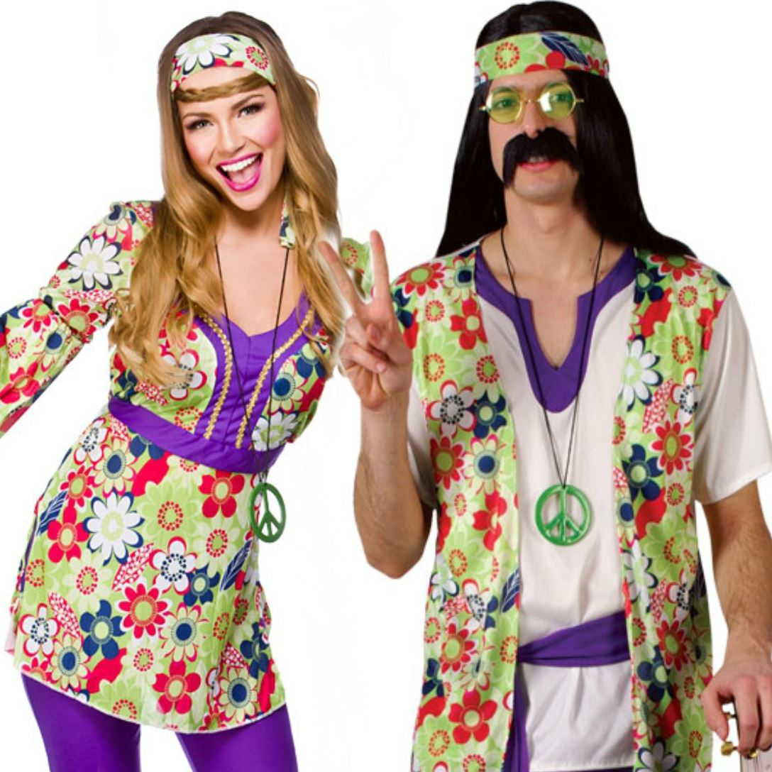 Adult Mens Ladies Couple 60s 70s Groovy Hippy Flower Power ...