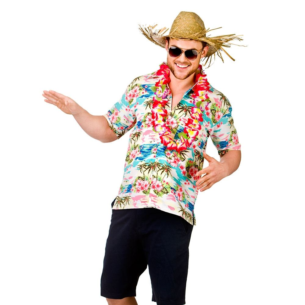 MENS HAWAIIAN SHIRT STAG RETRO BEACH LUAU TROPICAL ALOHA FANCY DRESS ...