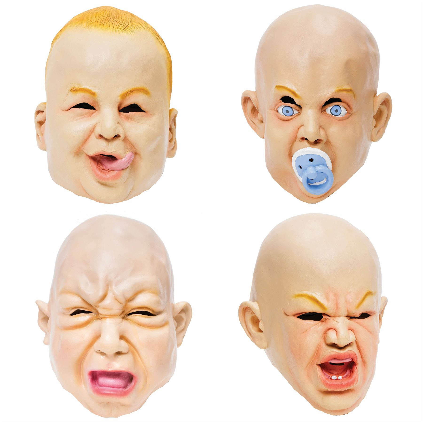 Details about Adult Rubber Overhead Scary Funny Baby Mask Fancy Dress  Halloween Stag Freshers