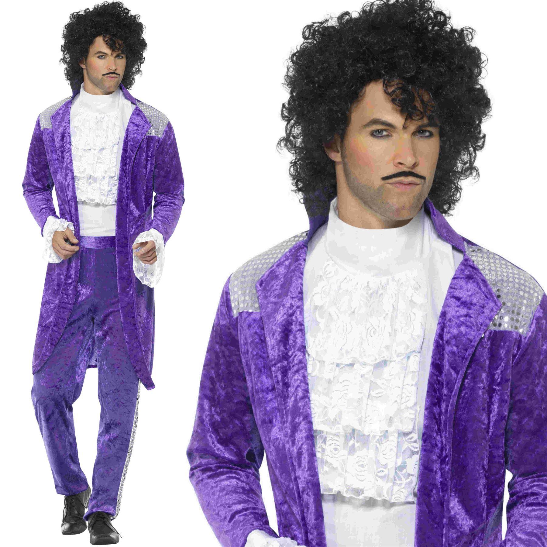Include parrucca e Tash da Uomo 80s Viola Musicista Cantante Principe Costume