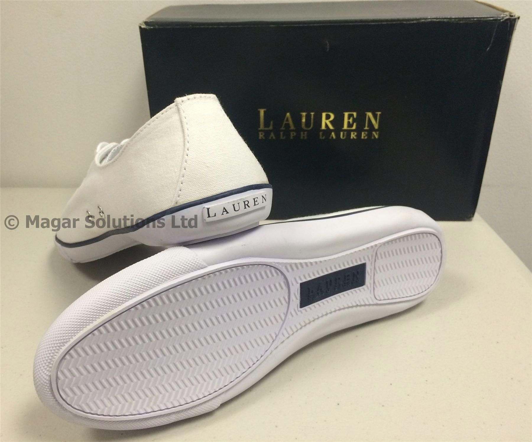 28afc96affe Lauren Ralph Lauren Polly-NE Canvas Trainers Ladies Girls Womens NEW ...
