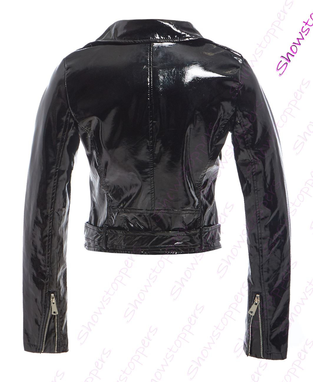 Womens-Patent-Biker-Jacket-Ladies-Size-8-10-12-14-16-PU-Black-Pink-New thumbnail 3