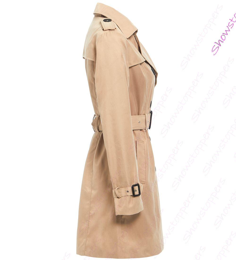 Womens-Trench-Coat-Ladies-Mac-Jacket-Size-8-10-12-14-16-Beige-Salmon-Blue miniatuur 4