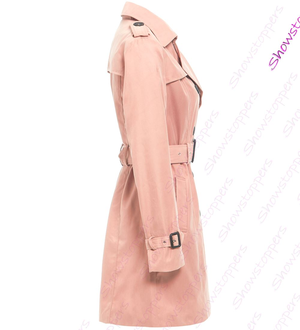 Womens-Trench-Coat-Ladies-Mac-Jacket-Size-8-10-12-14-16-Beige-Salmon-Blue miniatuur 11