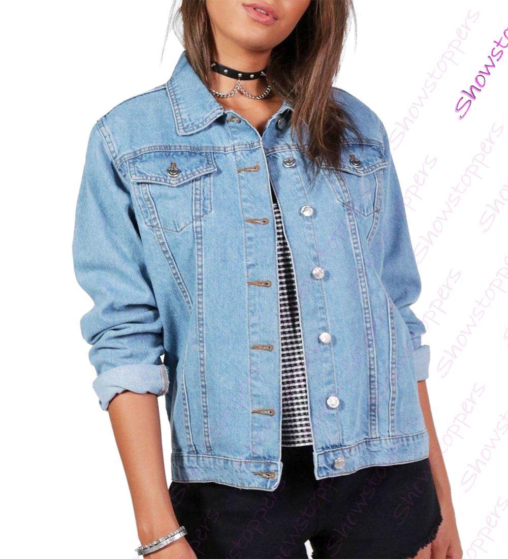 NEW-Plus-Size-16-18-20-22-24-26-Denim-Jacket-Women-Jean-Jackets-Ladies-Blue