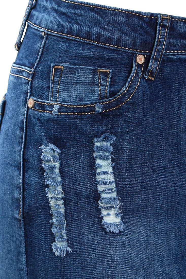 Womens-Stretch-Denim-Skirt-Ladies-Pencil-Ripped-skirts-NEW-Size-8-10-12-14-Blue miniatuur 12