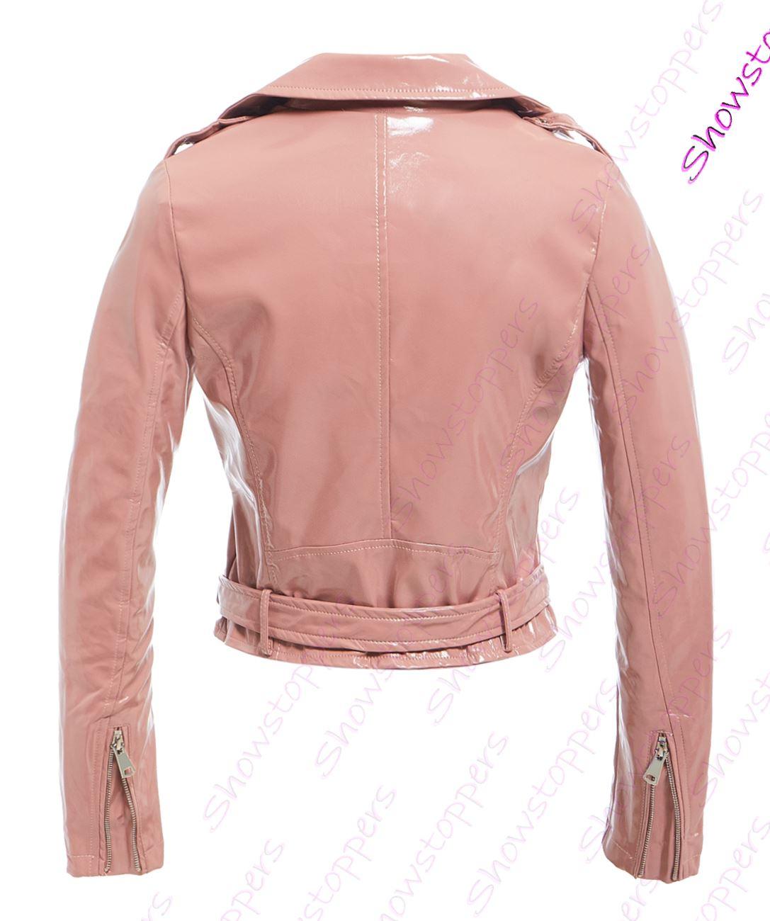 Womens-Patent-Biker-Jacket-Ladies-Size-8-10-12-14-16-PU-Black-Pink-New thumbnail 8