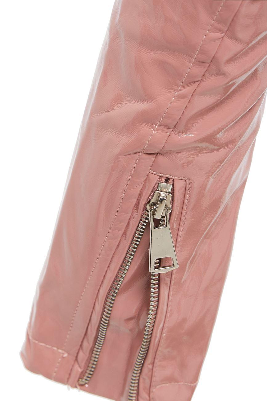 Womens-Patent-Biker-Jacket-Ladies-Size-8-10-12-14-16-PU-Black-Pink-New thumbnail 9