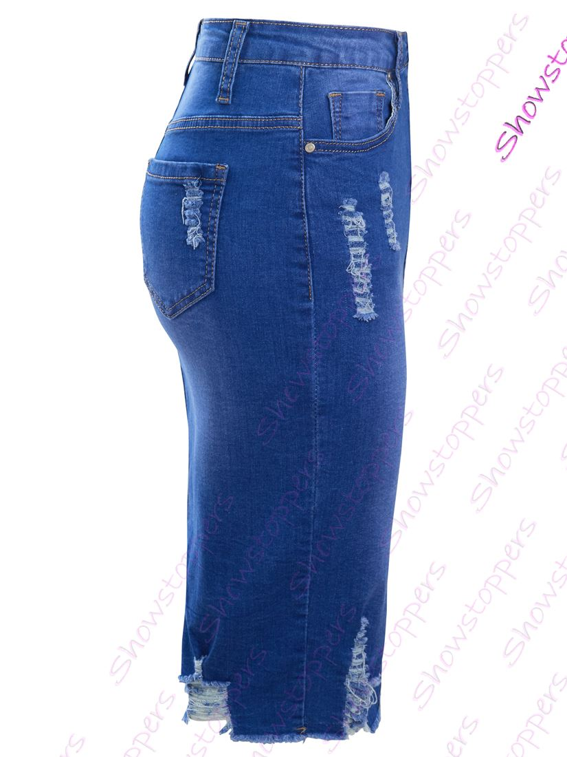 Womens Stretch Denim Skirt Pencil Straight skirts NEW Size 10 12 14 8 6 Blue