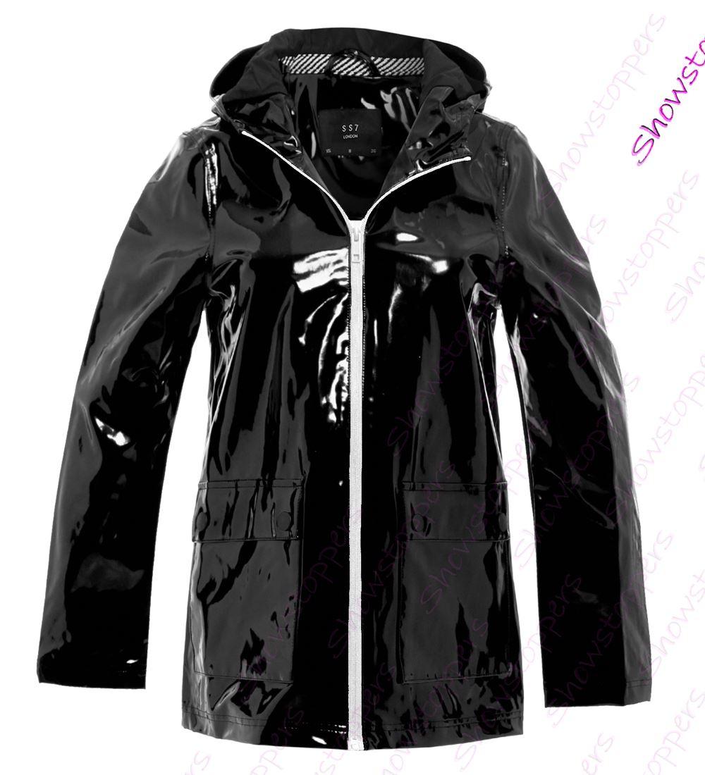 Womens Rain Mac Waterproof Vinyl Patent Raincoat Jacket