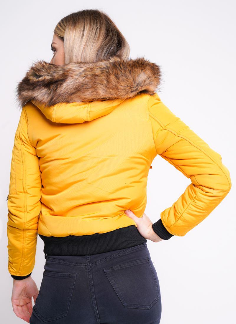 Womens Puffer Jacket Faux Fur Hooded Parka Coat Size 8 10 12 14 Mustard