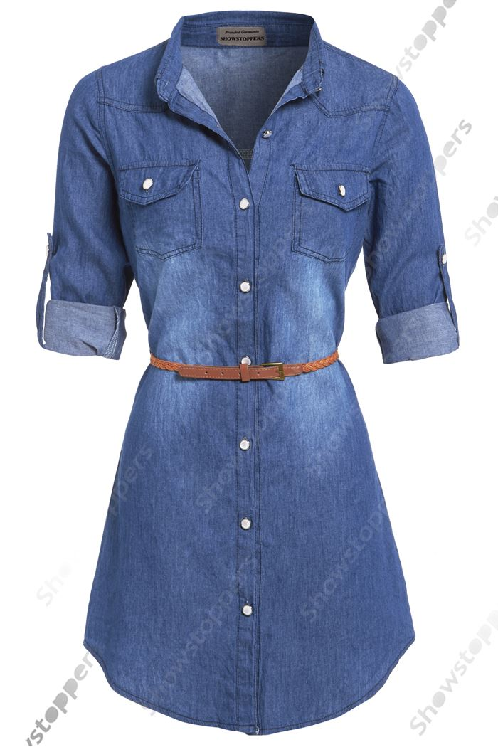 Womens Plus Size 16 24 Longline Denim Shirt Dress Ladies Jean
