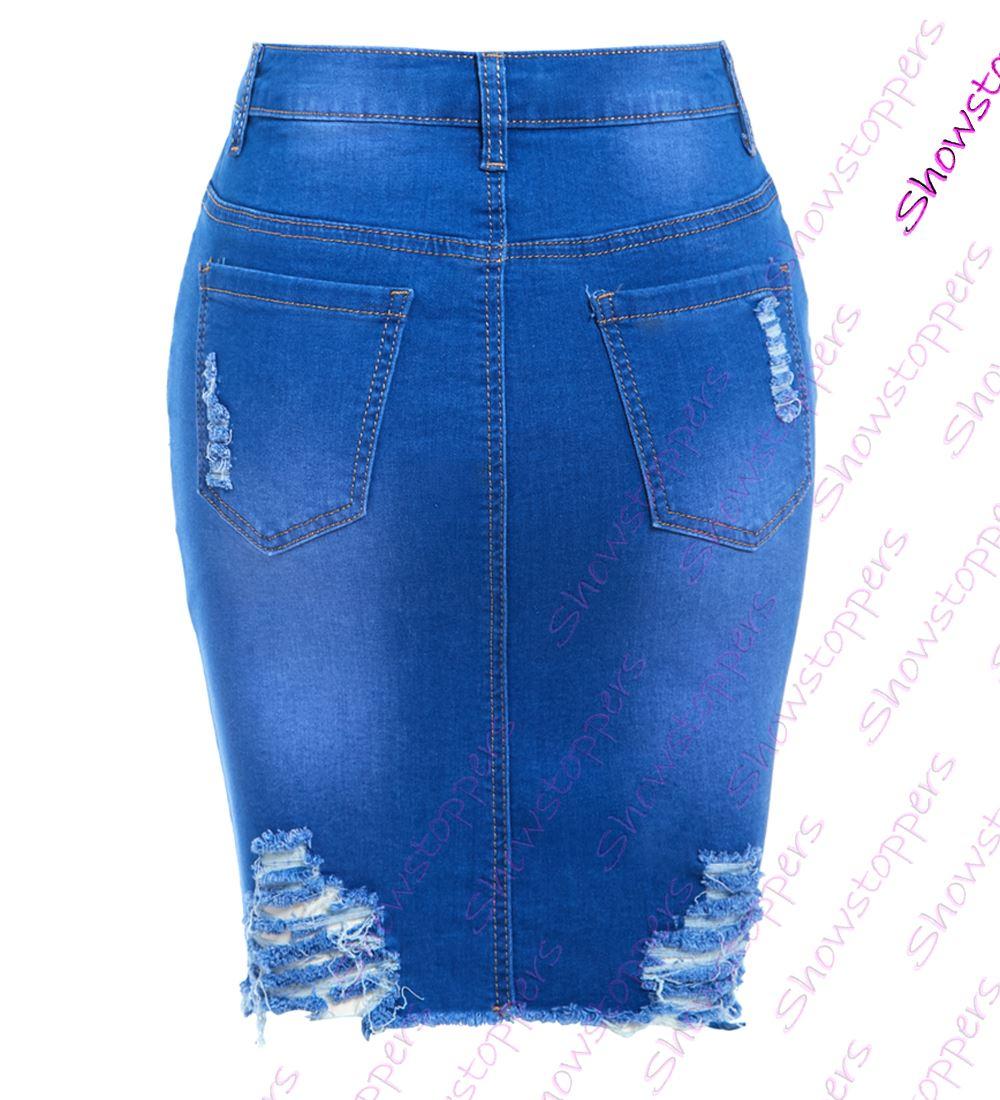 Womens-Stretch-Denim-Skirt-Ladies-Pencil-Ripped-skirts-NEW-Size-8-10-12-14-Blue miniatuur 7