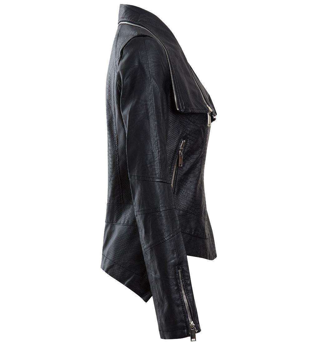 noir pour PU femme taille similicuir motard 14 8 en 12 10 Veste taille en a8nw4tnW