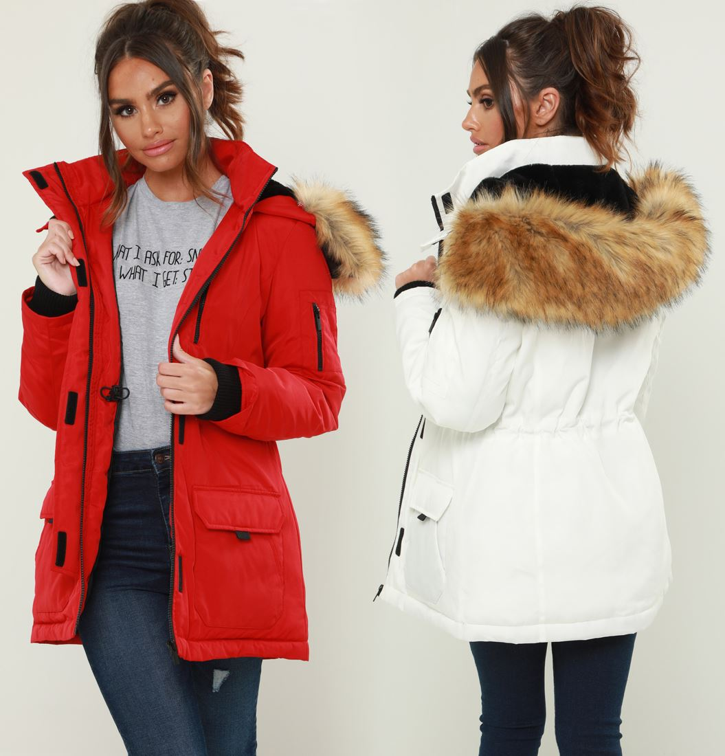 Ladies Parka Coat With White Fur Hood