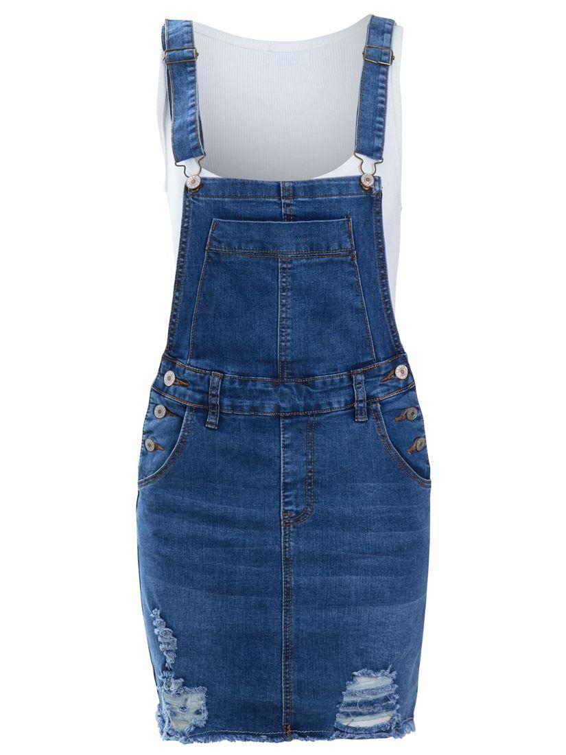 98725fa96e NEW Womens Denim Dungaree Dress Ladies Jean Pinafore Skirt Blue ...