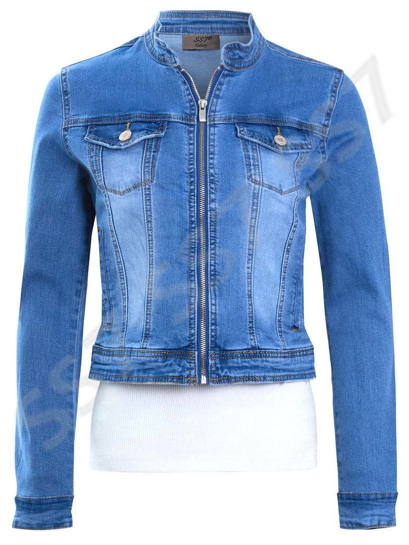 Details about Womens Size 16 12 10 8 14 Stretch Fitted Denim Jacket Ladies Jean Jackets Blue