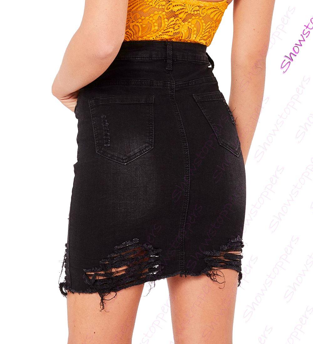 Womens-Stretch-Denim-Skirt-Ladies-Pencil-Ripped-skirts-NEW-Size-8-10-12-14-Blue miniatuur 3