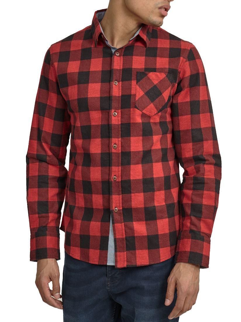 Mens-Check-Shirt-Collard-Cotton-Casual-Size-S-M-L-XL-White-Red-Blue-Black thumbnail 6