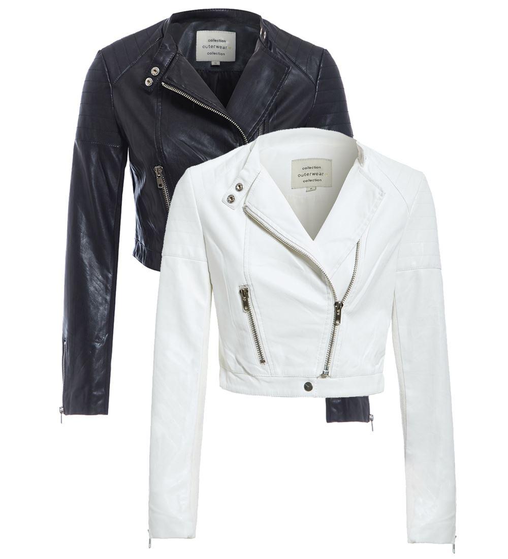 Womens Cropped Biker Jacket Ladies Size 8 10 12 14 White Black Pu