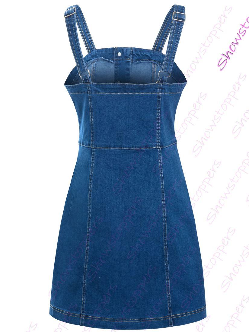 Womens-Denim-Dress-Sleeveless-Pinafore-Dresses-Size-8-10-12-14-Blue thumbnail 5