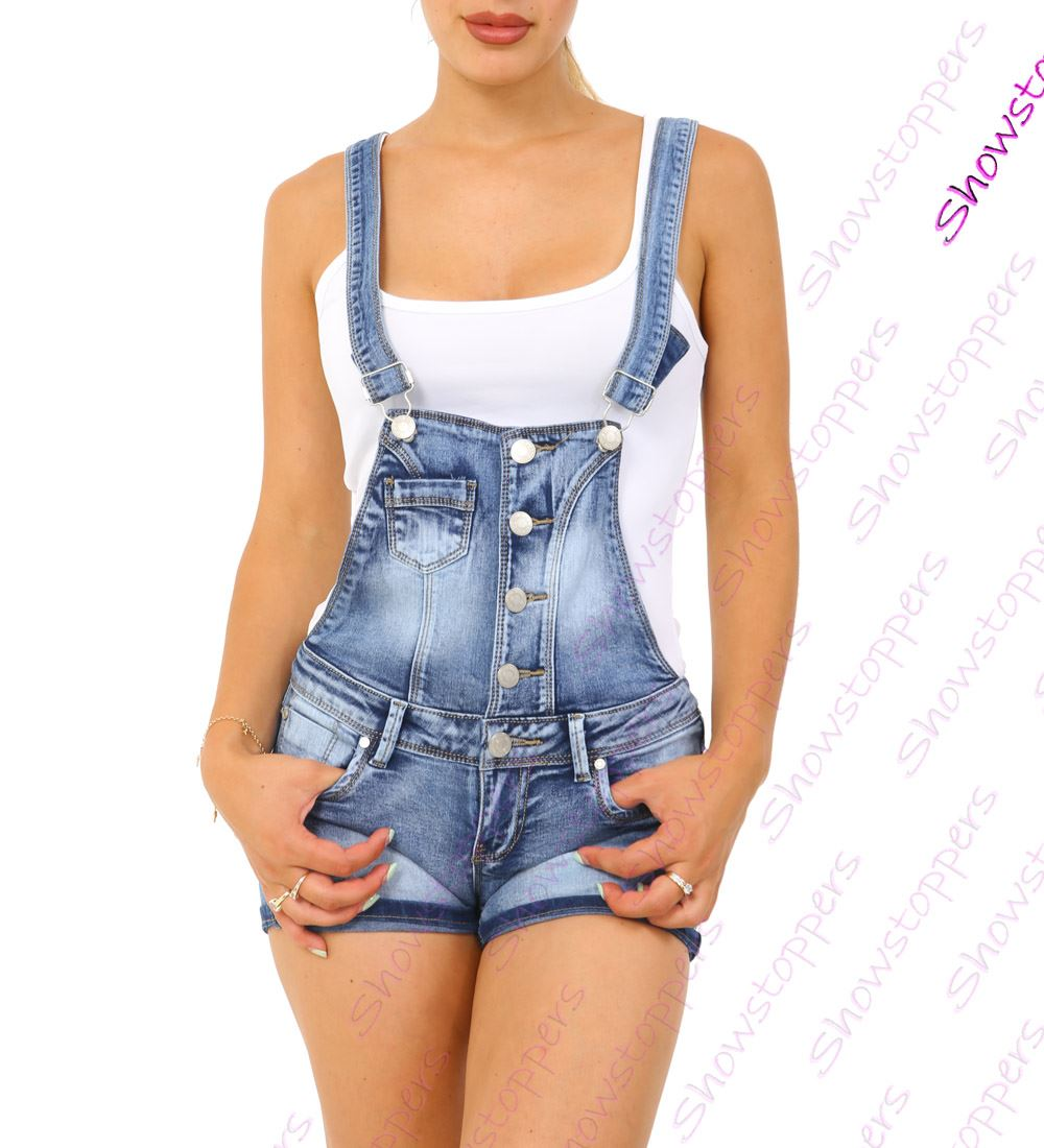 Womens Dungaree Shorts Denim Short Dungarees Size 4 6 8 10 12 14 Denim Blue | eBay
