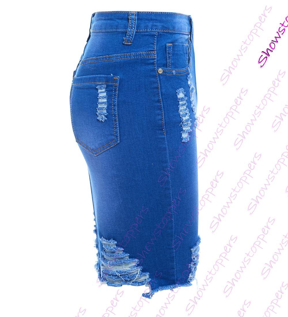 Womens-Stretch-Denim-Skirt-Ladies-Pencil-Ripped-skirts-NEW-Size-8-10-12-14-Blue miniatuur 6