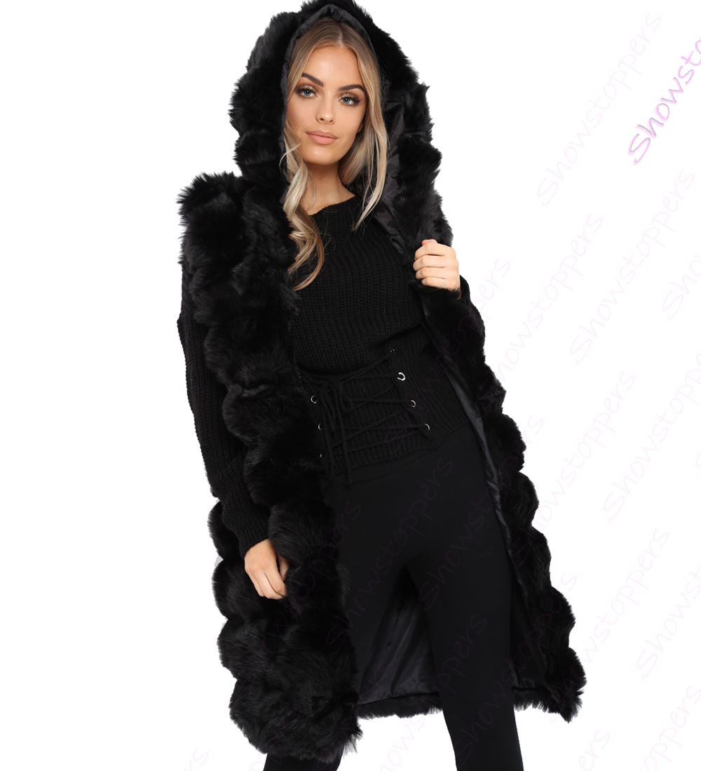 Womens-Faux-Fur-Gilet-Jacket-Bodywarmer-Soft-Fluffy-Waistcoat-Size-8-10-12-14 thumbnail 3