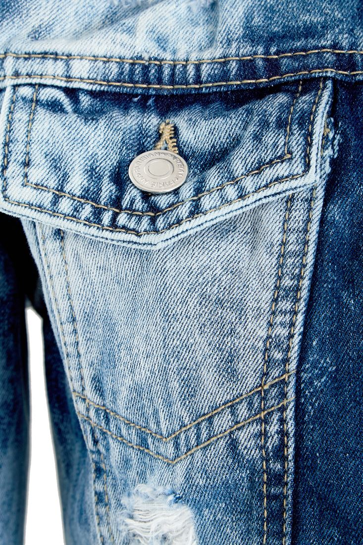 Womens-Acid-Blue-Denim-Jacket-Ladies-Rip-Jean-Cropped-Jackets-Size-6-8-10-12-14 thumbnail 5