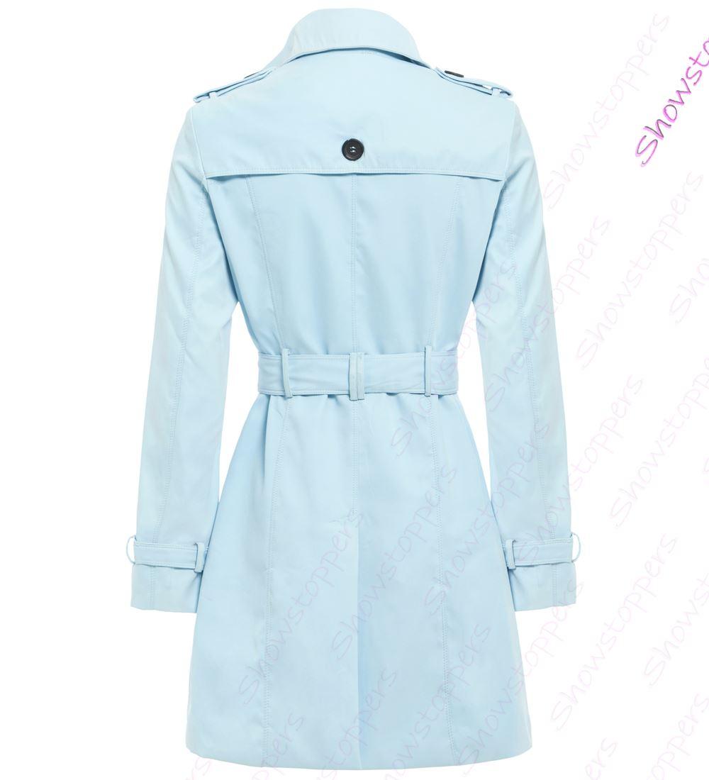 Womens-Trench-Coat-Ladies-Mac-Jacket-Size-8-10-12-14-16-Beige-Salmon-Blue miniatuur 8